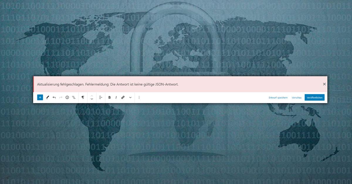 Fehlermeldung: Die Antwort ist keine gültige JSON-Antwort